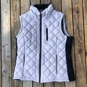 Andrew Marc Grey Quilted Puffer Vest Zippers LARGE